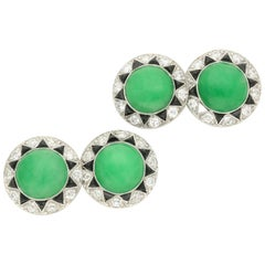 Art Deco Jade Cabochon, Old-Cut Diamond, Triangular Onyx Platinum Cufflinks