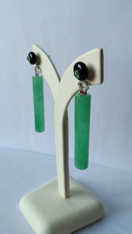 Women's Art Deco Style Jade Cylinders Gold Diamonds Emeralds Red Enamel Dangle Earrings For Sale