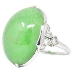 Art Deco Jade Diamond and Platinum Ring GIA