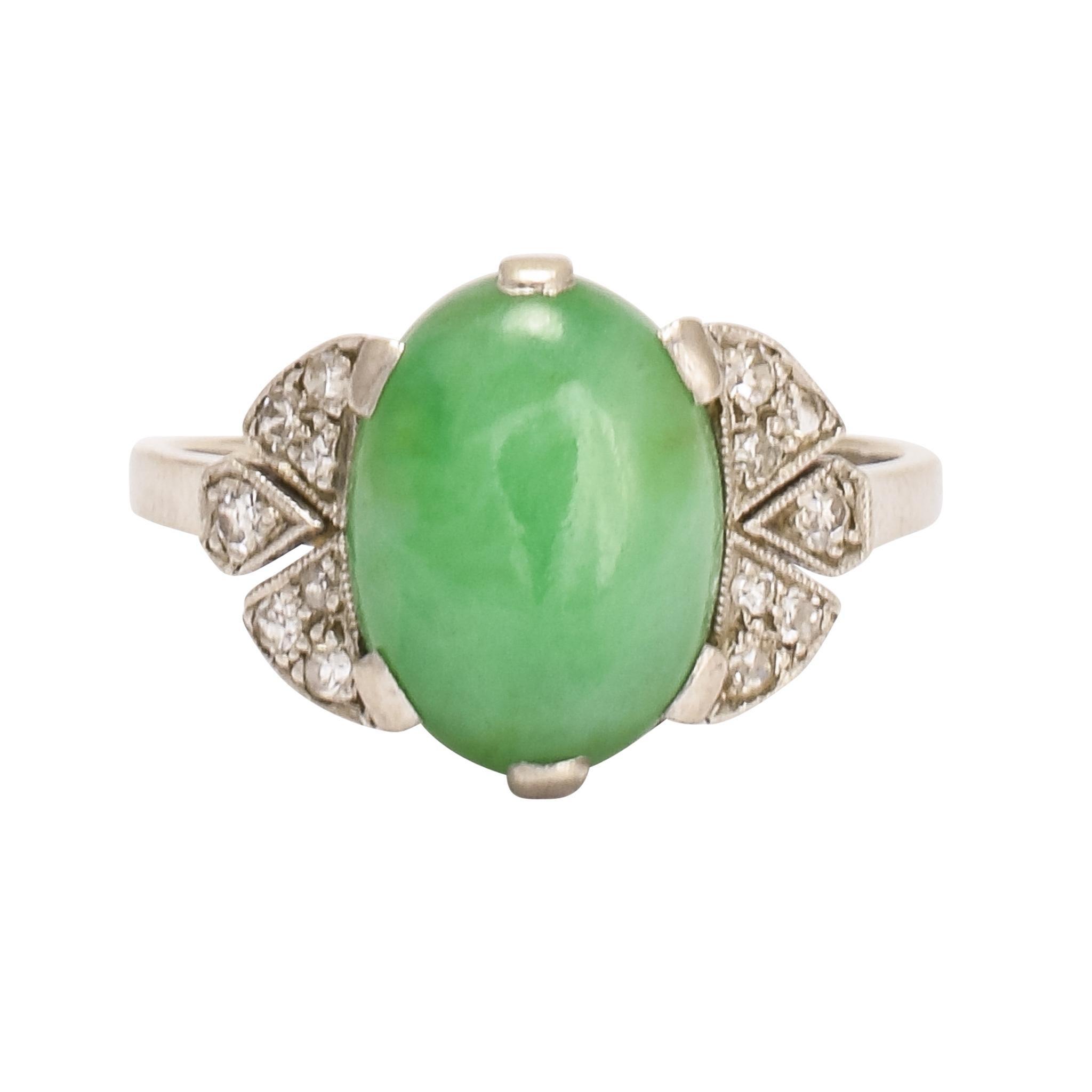 Art Deco Jade Diamond Cocktail Ring