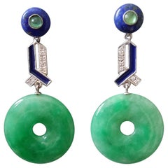 Art Deco Jade Donut Lapis Lazuli Gold Emeralds Diamonds Blue Enamel Earrings