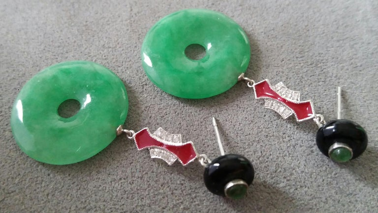 Mixed Cut Art Deco Style Jade Donuts Black Onix Rubies Gold Diamonds Red Enamel Earrings For Sale