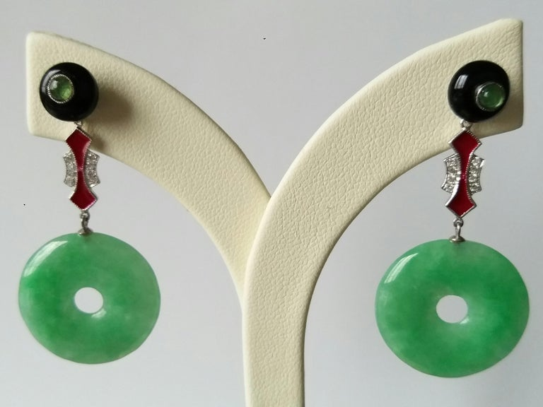 Art Deco Style Jade Donuts Black Onix Rubies Gold Diamonds Red Enamel Earrings In Good Condition For Sale In Bangkok, TH