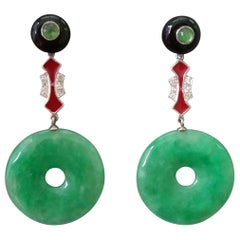 Art Deco Style Jade Donuts Black Onix Rubies Gold Diamonds Red Enamel Earrings