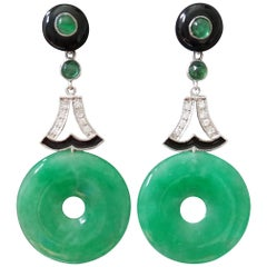 Art Deco Style Jade Gold Diamonds Emeralds and Black Enamel Dangle Earrings