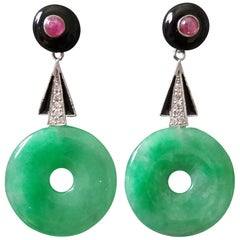 Art Deco Style Jade Donuts Gold Diamonds Rubies and Black Enamel Dangle Earrings