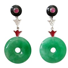 Art Deco Jade Donuts Gold Diamonds Rubies Red Enamel Dangle Earrings