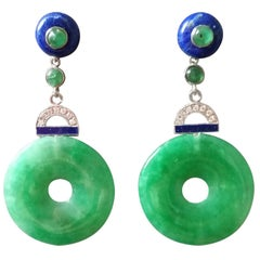 Art Deco Jade Donuts Lapis Lazuli Emeralds Diamonds White Gold Dangle Earrings