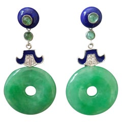 Art Deco Jade Donuts Lapis Lazuli Emeralds Gold Diamonds Enamel Dangle Earrings