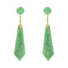 Art Deco Jade Drop Earrings, circa 1920s