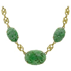 Art Deco Jade Drop Necklace 3-Stone Jadeite Natural Untreated Type A 14K Gold