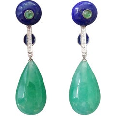 Art Deco Style Jade Emerald Lapis Lazuli Blue Enamel Gold Diamonds Drop Earrings