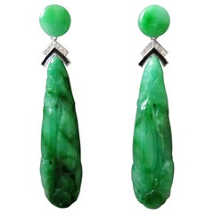 Art Deco Style Jade Gold Diamonds Black Enamel Carved Drop Earrings