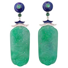 Art Deco Style Jade Gold Lapis Lazuli Diamonds Emeralds Blue Enamel Earrings