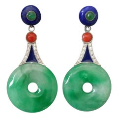 Art Deco Jade Lapis Lazuli Coral Emerald Enamel Gold Diamonds Dangle Earrings