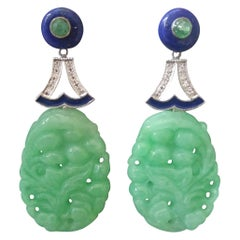 Art Deco Style Jade Lapis Lazuli Emeralds Gold Diamonds Enamel Dangle Earrings