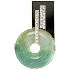 Art Deco Jade, Onyx, and Diamond Brooch of Geometric Design in Platinum and Gold