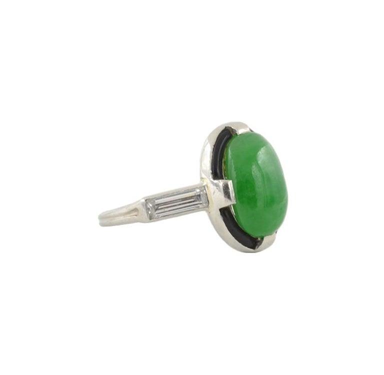 Women's or Men's Art Deco Jade Ring For Sale
