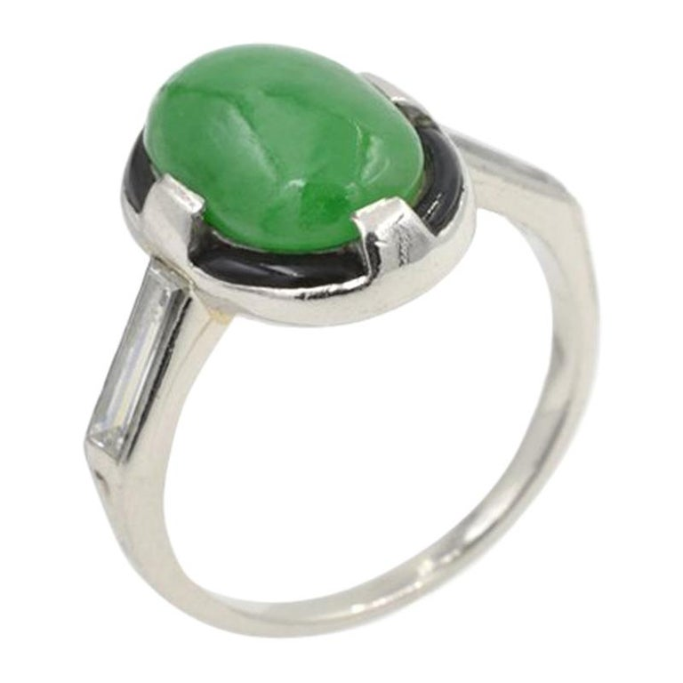 Art Deco Jade Ring For Sale