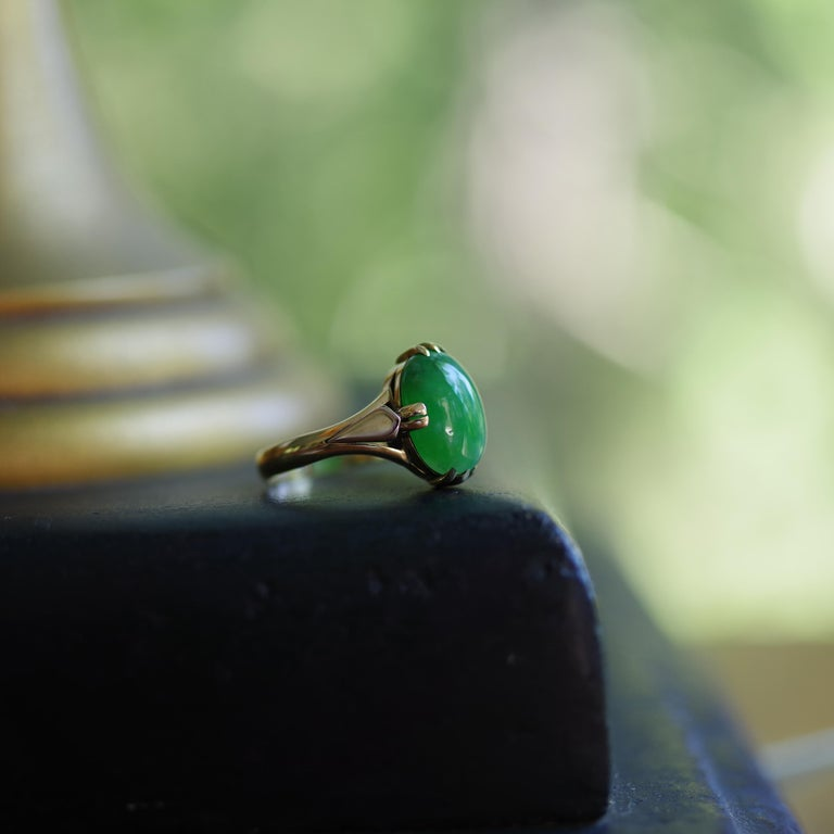 Jade Ring is Exquisite Japanese Art Deco Masterpiece For Sale 1