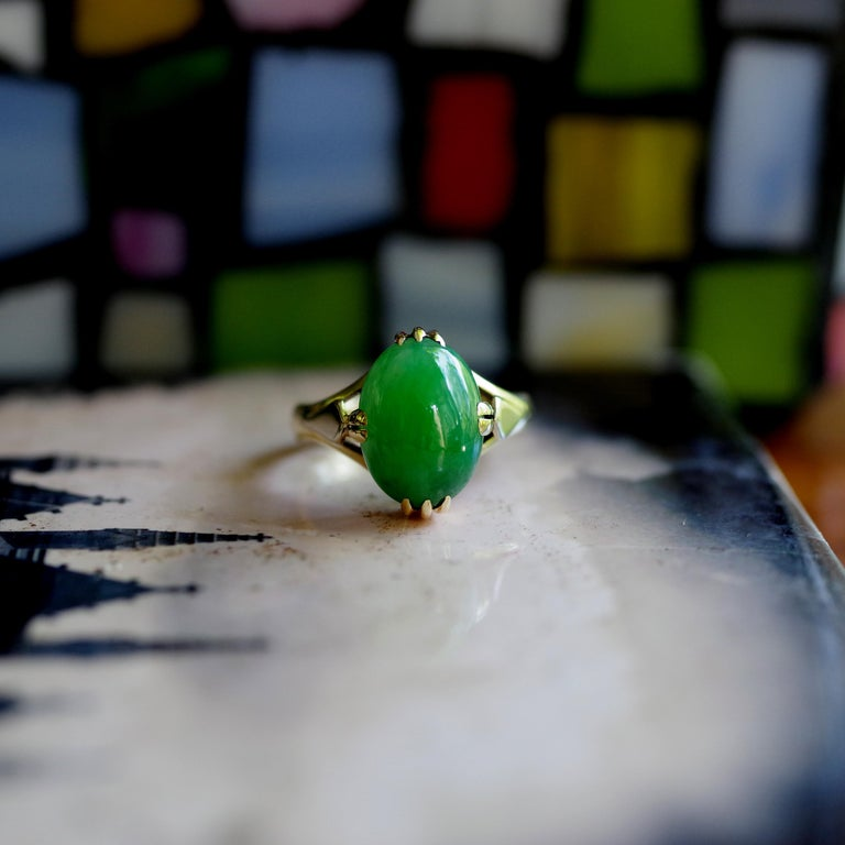 Jade Ring is Exquisite Japanese Art Deco Masterpiece For Sale 14