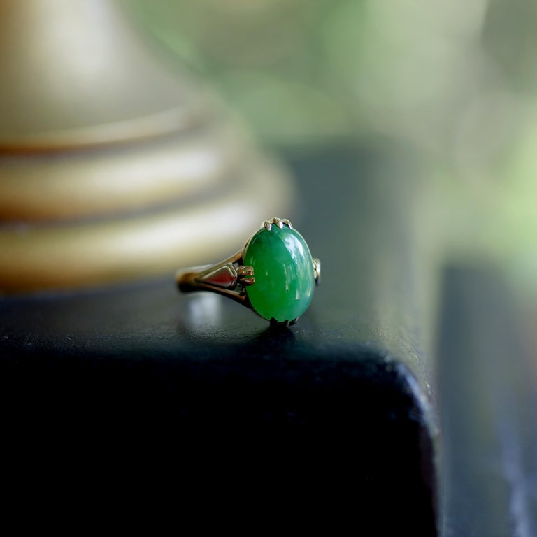 Jade Ring is Exquisite Japanese Art Deco Masterpiece For Sale 2