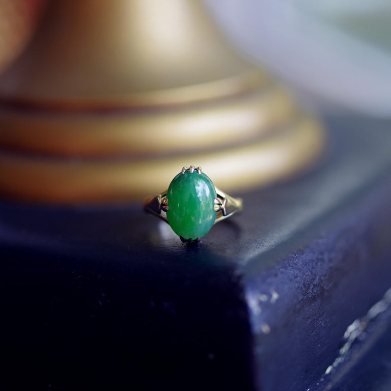 Jade Ring is Exquisite Japanese Art Deco Masterpiece For Sale 3