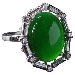Art Deco Jade Ring in Platinum with Diamonds Certified Untreated