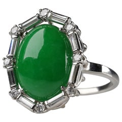 Art Deco Jade Ring in Platinum with Diamonds Certified Untreated