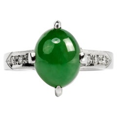 Art Deco Jade Ring in Platinum with Diamonds GIA Certified Untreated