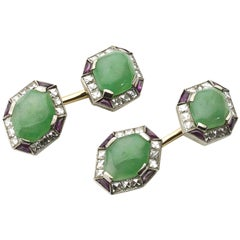 Art Deco Jade, Ruby and Diamond Cufflinks