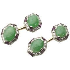 Art Deco Jade Ruby and Diamond Cufflinks