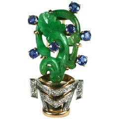 Art Deco Jade, Sapphire and Diamond Flower Pot Clip