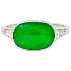Art Deco Jadeite Jade Diamond Platinum Cabochon Ring GIA