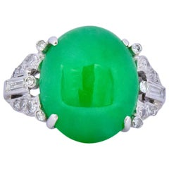 Art Deco Jadeite Jade Diamond Platinum Ring GIA Certified