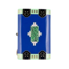 Art Deco Jadeite Jade Diamond Yellow Gold Cigarette Case