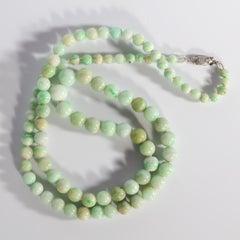 Art Deco Jadeite Jade Necklace in Soft Muted Tones Certified Untreated