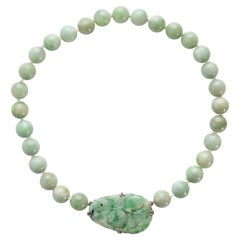 Art Deco Jadeite Jade Necklace with Carved Clasp Certified Untreated