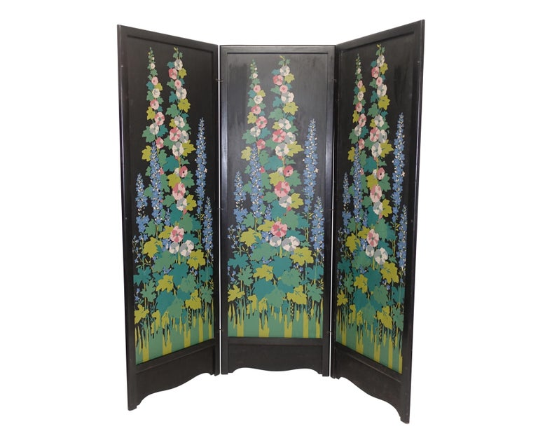Three panel wood folding screen with a silk screen floral design in the Japanese manner American, Art Deco period, circa 1920. 