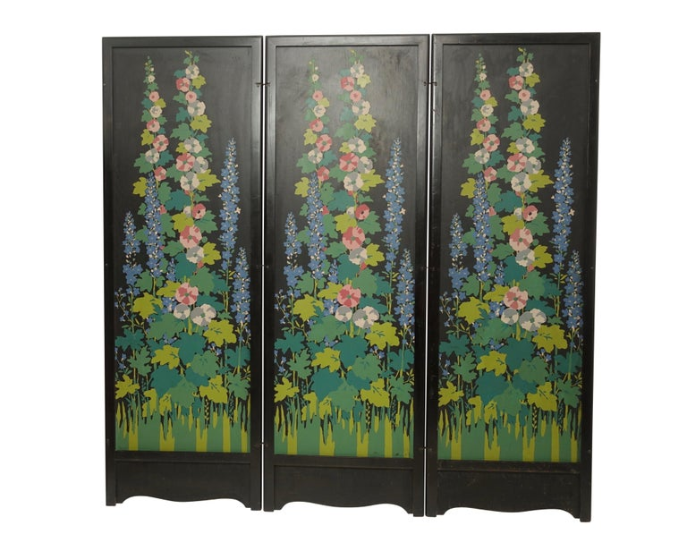 Art Deco Japanesque Silk Screen on Wood Folding Screen, American, circa 1920 For Sale 3
