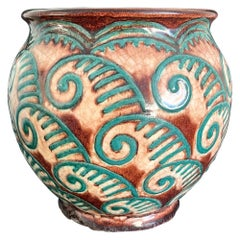 Art Deco Jardiniere/Vase with Fern Tendril Motif by Sevres, Blue-Green & Brown