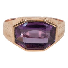 Art Deco Jazz Age Amethyst and 14 Karat Rose Gold with Geometric Cubist Designs