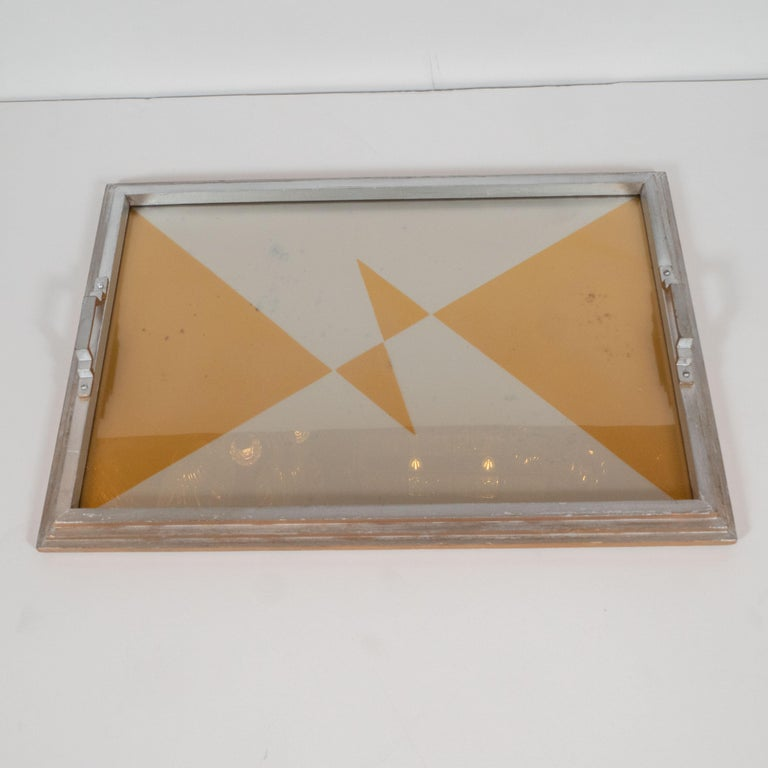 Art Deco Jazz Age Cubist Reverse Églomisé Skyscraper Style Gold & Silver Tray In Good Condition For Sale In New York, NY