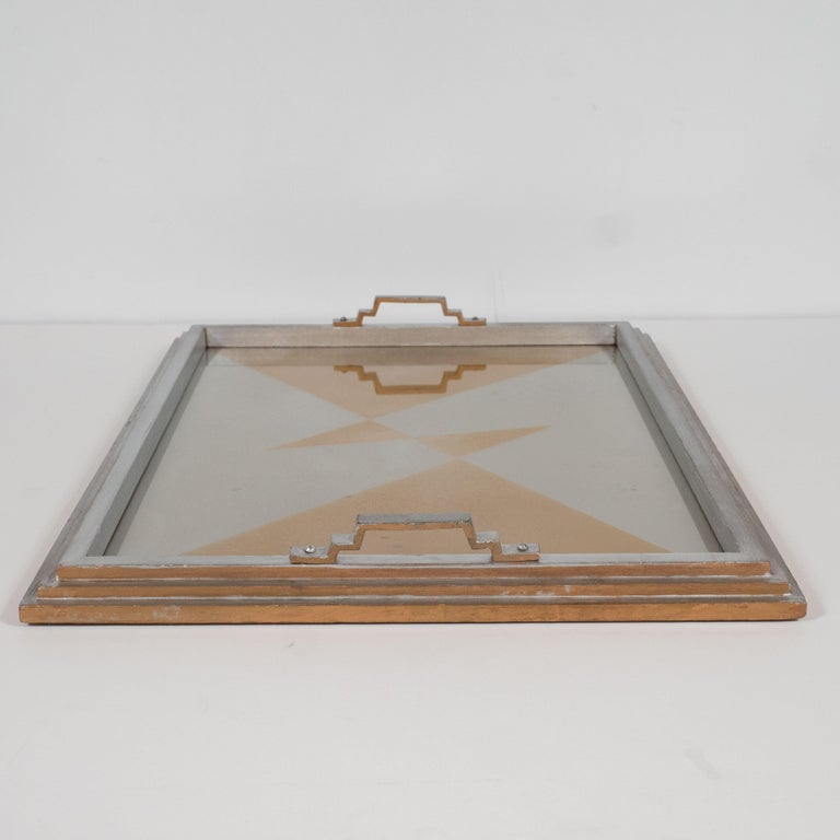 Art Deco Jazz Age Cubist Reverse Églomisé Skyscraper Style Gold & Silver Tray For Sale 2
