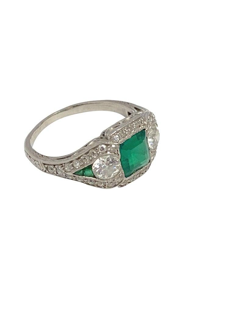 Square Cut Art Deco J.E. Caldwell Oscar Heyman Emerald Diamond Platinum Ring For Sale