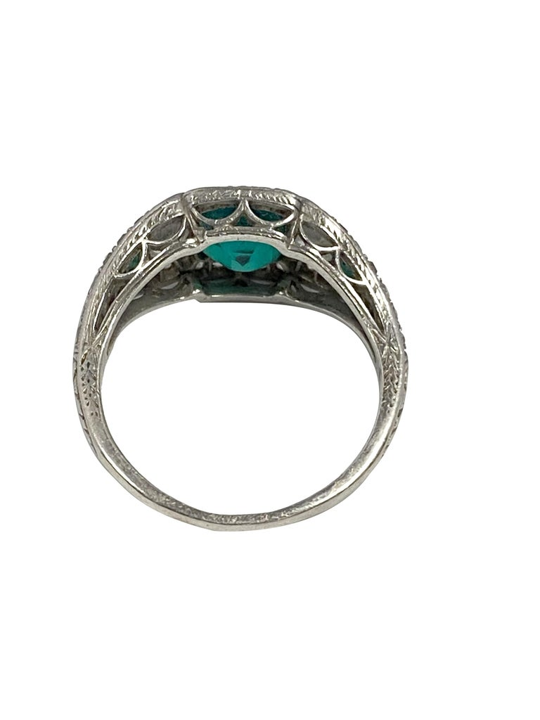 Art Deco J.E. Caldwell Oscar Heyman Emerald Diamond Platinum Ring In Excellent Condition For Sale In Chicago, IL