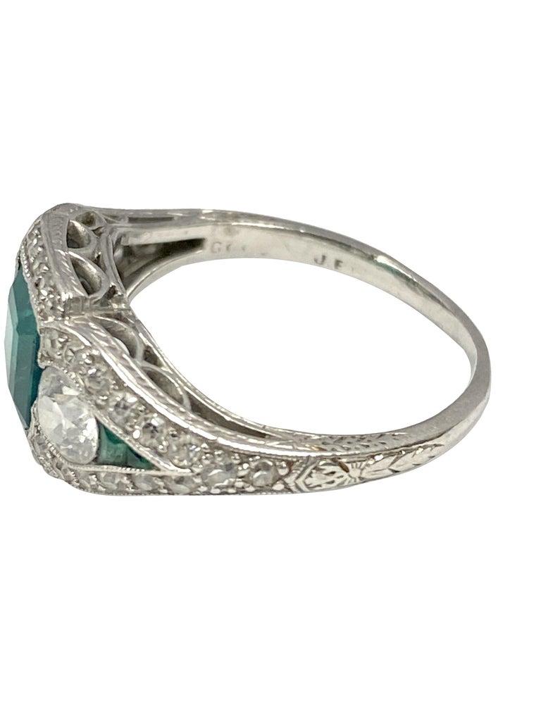 Women's Art Deco J.E. Caldwell Oscar Heyman Emerald Diamond Platinum Ring For Sale