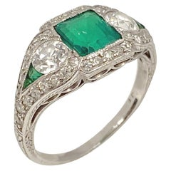 Art Deco J.E. Caldwell Oscar Heyman Emerald Diamond Platinum Ring
