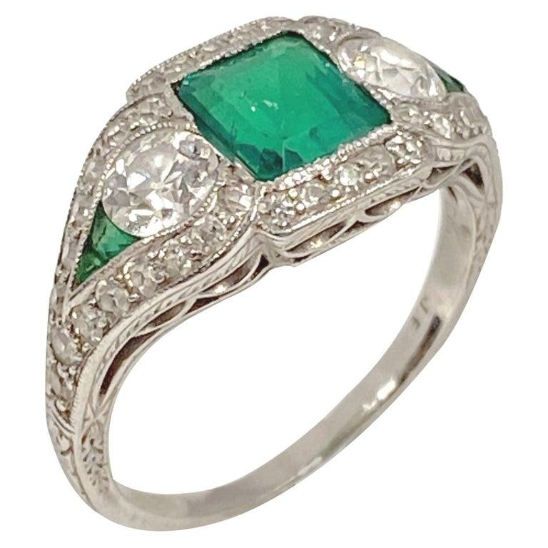 Art Deco J.E. Caldwell Oscar Heyman Emerald Diamond Platinum Ring For Sale