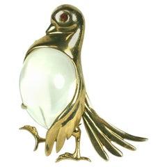 Art Deco Jelly Belly Pigeon Brooch